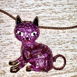 Jewelry - Purple Rhinestone Kitty Cat Necklace